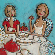 Strawberries Paintings - High Tea by Denise Daffara