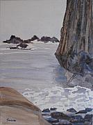 Beach Sculpture Prints - High Tide at Seal Rock Print by Jenny Armitage