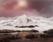 Shorelines Digital Art Posters - High Tide Poster by Sena Wilson