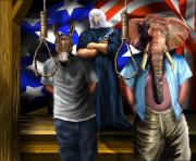 Obama Painting Prints - High Treason - State of the Union-A House Divided1 Print by Reggie Duffie