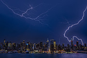 Lightning Storms Prints - High Voltage in the  New York City Skyline Print by Susan Candelario