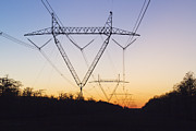 Louisiana Sunrise Posters - High Voltage Lines and Pylons Poster by Jeremy Woodhouse
