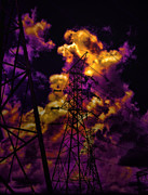Dark Skies Metal Prints - High Voltage Metal Print by Marcie Adams Eastmans Studio Photography