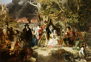 Great Outdoors Painting Prints - Highgate Fields During the Great Fire of London in 1666 Print by Edward Matthew Ward