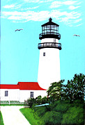 North American Lighthouses - Paintings By Frederic Kohli - Highland - CC - Lighthouse Painting by Frederic Kohli