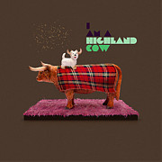 Westie Digital Art - Highland Cow by Michael  Murray