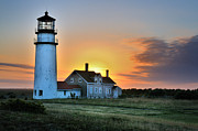 Cape Cod Lighthouses Posters - Highland Lighthouse - Sunset Burst Poster by Thomas Schoeller