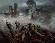 Historical Buildings Paintings - Highlanders advancing to Caen by Orville Norman Fisher