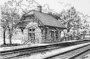 Train Station Drawings - Highlands Train Station by Mary Palmer