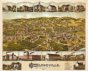 Vintage Map Digital Art Prints - Highlandville Massachusetts Print by Donna Leach