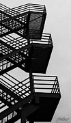 Downtown Stairs Metal Prints - Highrise Escape Metal Print by Steven Milner