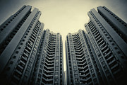 Hong Kong Prints - Highrise Residential Buildings In Hong Kong Print by Yiu Yu Hoi