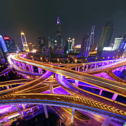 Light Trail Framed Prints - Highway Intersection In Shanghai Framed Print by Lars Ruecker