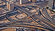 United Arab Emirates Prints - Highway Intersection Of Print by Miemo Penttinen - miemo.net
