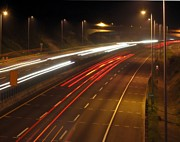 Highway Lights Prints - Highway Traffic at Evening Time Print by Yali Shi