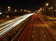 Highway Lights Prints - Highway Traffic by Night Print by Yali Shi