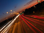 Highway Lights Prints - Highway Traffic During Sunset Print by Oleksiy Maksymenko