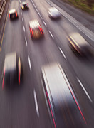Asphalt Framed Prints - Highway Traffic in Motion Framed Print by Oleksiy Maksymenko