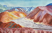 Riverbed Paintings - Hiker in Death Valley by JoAnne Rauschkolb