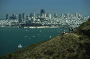 National Recreation Areas Prints - Hikers View San Franciscos Skyline Print by Phil Schermeister