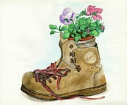 Hawkins Posters - Hiking Boot Flower Pot Poster by Sheryl Heatherly Hawkins