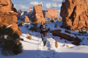 Cold Morning Sun Prints - Hiking in Arches National Park Print by Utah Images
