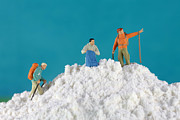 Kids Sports Art Posters - Hiking on flour snow mountain Poster by Mingqi Ge