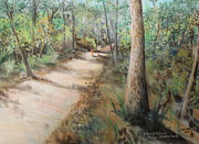 Hiking Pastels Posters - Hiking Silver River State Park Poster by Larry Whitler