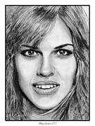 Grey Drawings Framed Prints - Hilary Swank in 2007 Framed Print by J McCombie