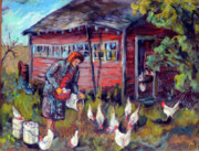 Rural Life Paintings - Hilda Feeds Her Chickens by Jean Groberg