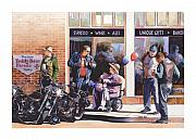 Harley Davidson Paintings - Hilda Hogs and Harleys by Mike Hill