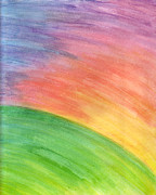 Aurora Art Paintings - Hill at Sunset Abstract by Lisa Anne Riley