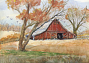 Mountain Paintings - Hill Country Barn by Barry Jones
