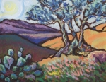 Texas Painting Originals - Hill Country Dusk by Sandra Goldner