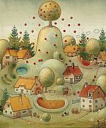 Apple Drawings Framed Prints - Hill Framed Print by Kestutis Kasparavicius
