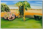 Picturesque Painting Posters - Hill Overlooking the Farm Poster by Gloria Cigolini-DePietro
