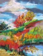 Autumn Trees Drawings Posters - Hill Pond Poster by John  Williams