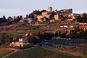 Tuscan Dusk Photos - Hill Town of Panzano at Dusk by Jeremy Woodhouse