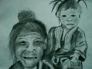 Thai Drawings - Hill Tribe Lady and Child by Colin O neill