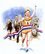 Barack Obama  Prints - Hillary and the race Print by Ken Meyer jr