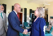 First Lady Photo Framed Prints - Hillary Clinton Meets With Haitian Framed Print by Everett