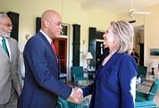 Hillary Clinton Meets With Haitian Print by Everett