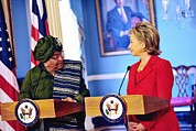 Powerful Women Framed Prints - Hillary Clinton Meets With Liberian Framed Print by Everett