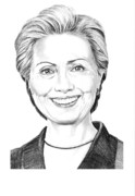 Pencil Drawing Posters - Hillary Clinton Poster by Murphy Elliott