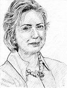 Bill Clinton Drawings Prints - Hillary Clinton Pencil Portrait Print by Romy Galicia