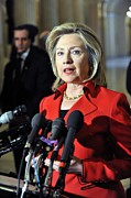 Obama Administration Prints - Hillary Clinton Speaking To The Press Print by Everett