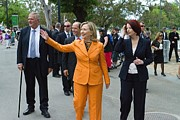 Obama Administration Framed Prints - Hillary Clinton Waves To The Crowd Framed Print by Everett
