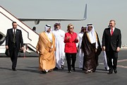 Obama Administration Posters - Hillary Clinton With Us And Qatari Poster by Everett