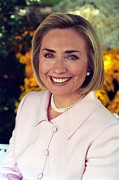 Bill Clinton Metal Prints - Hillary Rodham Clinton In A White House Metal Print by Everett