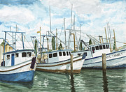 Galveston Paintings - Hillmans Boats by Don Bosley